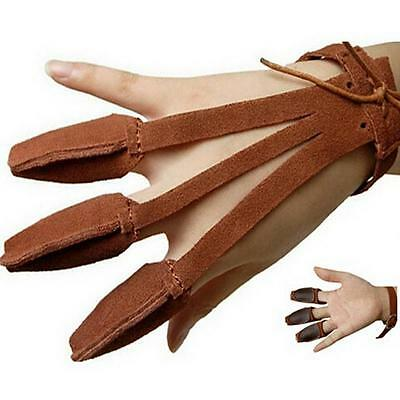 Archery Hunting Suede Leather Three Finger Guard Protect BOWS Glove Handmade XW