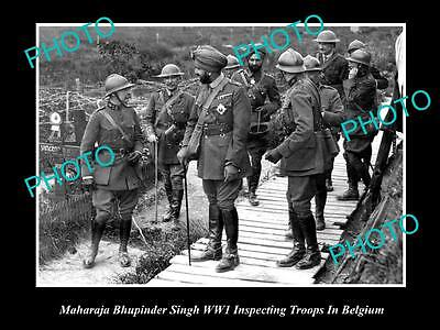OLD LARGE HISTORICAL PHOTO OF INDIAN MAHARAJA BHUPINDER SINGH WITH TROOPS IN WWI