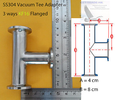 KF16 (NW16) Tee adapter, 3-ways all ends KF16 flange, SS 304