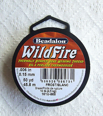 "Beadalon 'Wildfire' Super Strong Bead Weaving Thread (0.006"" Frost 50 yards)"