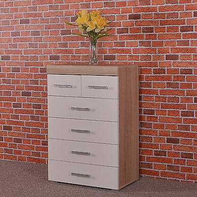 Chest of 4+2 Drawers - White & Sonoma Oak Effect Bedroom Furniture Modern 6 Draw