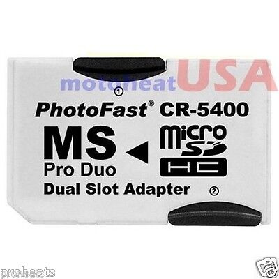 Dual Micro SD TF to Memory Stick MS Pro Duo PSP Card 2 Slot Adapter Converter SS