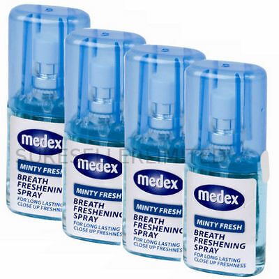X 4 TOP QUALITY MEDEX 20ml MINTY FRESH BREATH MOUTH SPRAY BAD BREATH NUZ1