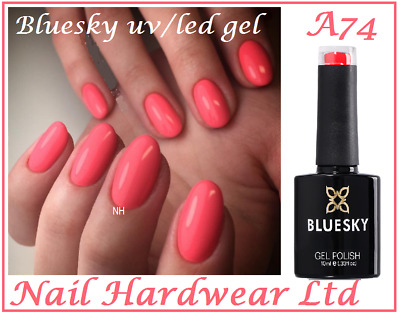 Bluesky Gel A74 A074 Bright Pink Neon Coral Summer most popular UV LED NAIL GEL
