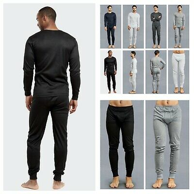 Mens 2PC SET Thermal Underwear Long John Waffle T Crew Neck Shirt Winter Pants
