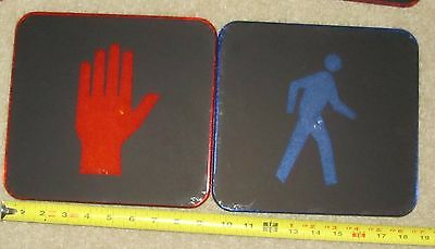 """Never Used 9"""" HAND and MAN Plastic Traffic Signal Light lenses set of 2"""