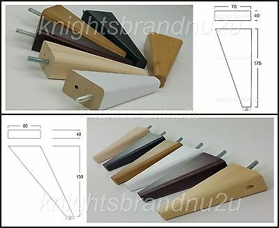 4x SOLID WOOD REPLACEMENT FURNITURE LEGS/FEET - SOFA, CHAIRS, SETTEE M8(8mm)