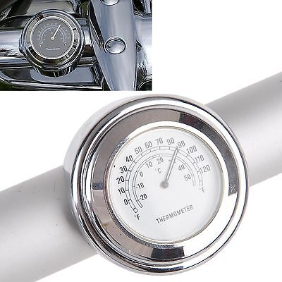 """Universal 7/8"""" 1"""" Motorcycle Handlebar Mount Thermometer White Dial New #"""