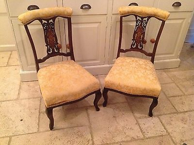 Pair of Antique Victorian Low Level Yellow Easy Nursing Fireside Bedroom Chairs