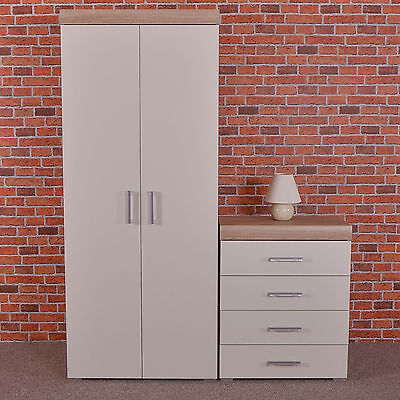 2 Door Wardrobe & 4 Drawer Chest in White & Sonoma Oak Bedroom Furniture Set NEW