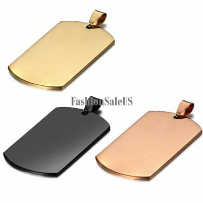 Men's Stainless Steel Polished Army Military Dog Tag Pendant Necklace Cool Chain