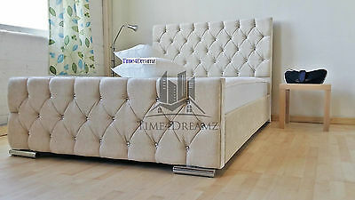 Diamond Florida Cream Fabric Upholstered Bed Frame 4'6ft Double 5FT King Size
