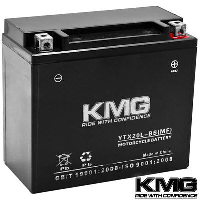 12V Battery KMG Motorcycle Scooter ATV Snowmobile Mower PWC Watercraft YTX20L-BS