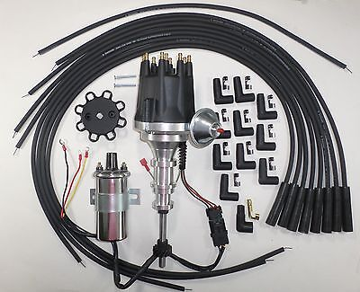 FORD Y Block 272-292-312 BLACK HEI Distributor + Spark Plug Wires + Chrome Coil