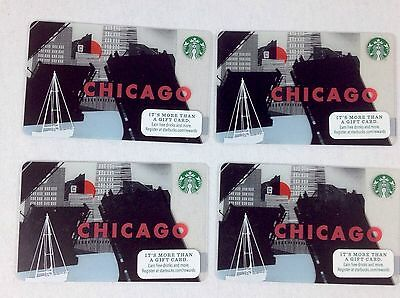 Starbucks Chicago 2015 New Issue Gift Card Lot of 4 NO VALUE Draw Bridge, River