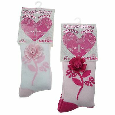 Baby Girls Tights With Jacquard Flower Stem & Applique Pink White Fuchsia 3D