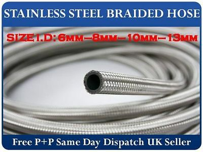68e408c7b7b378 Stainless Steel Braided Hose Rubber Fuel Line Hose Petrol Pipe Oil Coolant