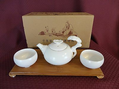 Japanese Porcelain Miniature White Tea Set Teapot 2 Cups Wood Tray New