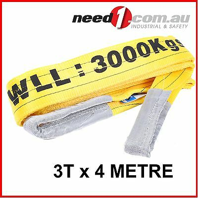 LIFT SAFE 3T x 4M Flat Lifting Sling 100% Polyester c/w Test Certificate