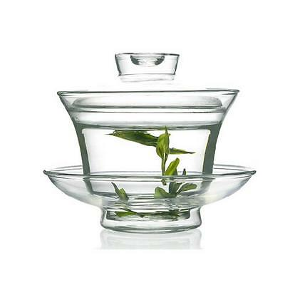 150ml Traditional Gongfu Tea Clear Glass Crystal Transparent Gaiwan Cup Sell XW