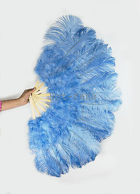 """primary Burlesque 21x 38"""" Sky blue Marabou Ostrich Feather fan & carrying case"""