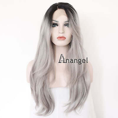 Synthetic Lace Front Wig Long Wavy Ombre Gray Silver grey Full Hair Wigs