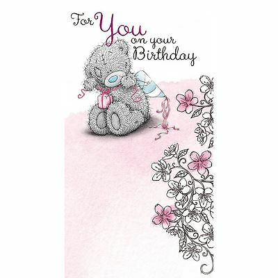 Me to You For You On Your Birthday Present & Flowers Bday Card - Tatty Teddy