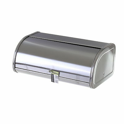 Bread Bin Large Metal Roll Top Loaf Storage Silver Kitchen Pastries Rolls Baps