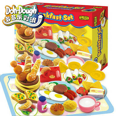 Play Dough Mold Breakfast Set Soft Clay Plasticine Foods Fun Mode Tools Kids Toy