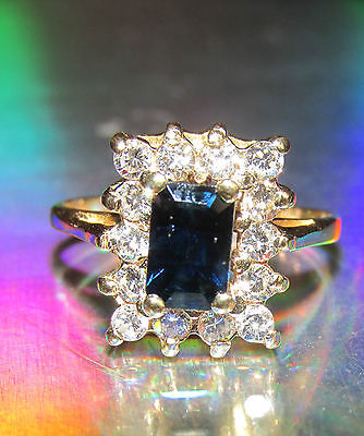 STUNNING SECONDHAND 14ct YELLOW  GOLD SAPPHIRE AND DIAMOND  RING SIZE G1/2