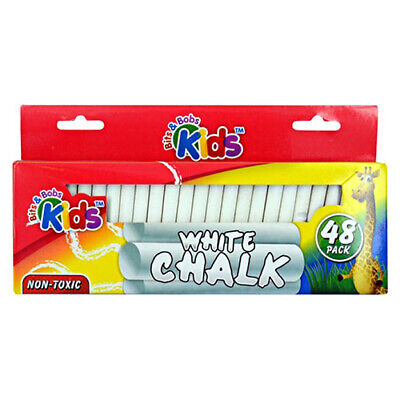48pce White Chalk 8cm Chalk Sticks