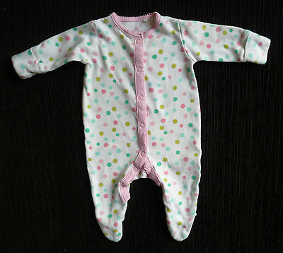 Baby clothes GIRL newborn 0-1m NEXT pastel spotted pink/white babygrow