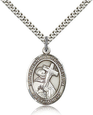 Saint Bernard Of Clairvaux Medal For Men - .925 Sterling Silver Necklace On 2...