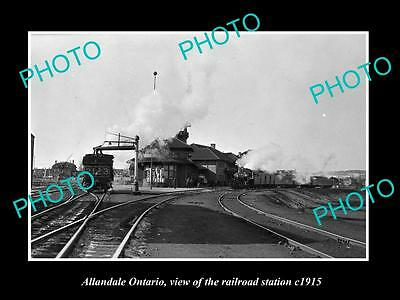 OLD LARGE HISTORIC PHOTO OF ALLANDALE ONTARIO CANADA, THE RAILWAY STATION c1915