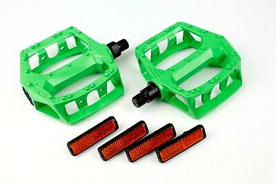 "BMX Works Pedals Platform 1/2"" Green Sold In Pairs"