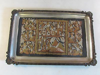 VTG Silver Copper Brass Inlaid Shibayama Serving Platter Egyptian Mixed Metals