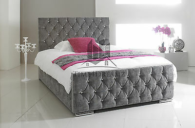 Florida Diamond Fabric Upholstered Bed Frame Grey 4'6 Double 5ft King Size