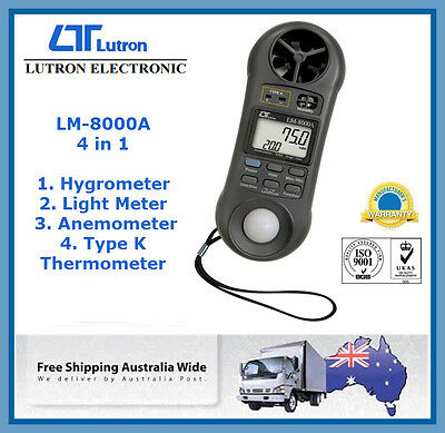 Lutron LM-8000A 4 in 1 Anemometer Hygrometer Type K Thermometer Light meter