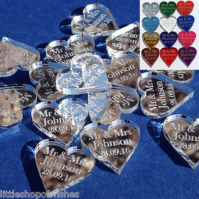 Personalised Love Hearts Wedding Favours Mr & Mrs Table Confetti Decorations