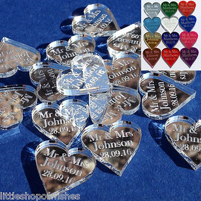 Personalised Mr & Mrs Love Hearts Wedding Favours Table Confetti Decorations