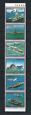 PARAGUAY 1983 STRIP MiNr: 3656 - 3661 ** AIRCRAFT CARRIER SHIP