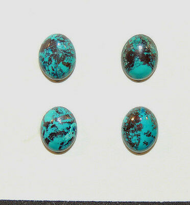 Chrysocolla Cabochons 9x7mm from Peru set of 4 4mm dome (9179)