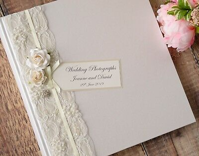 Large Ivory Personalised Wedding Photograph Album. 50 Pages / 100 Sides. Vintage