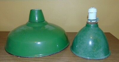 2Pc Vintage Antique Industrial Green & White Porcelain Enamel Ceiling Lights