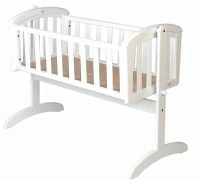 NEW Nursery Baby Cradle Bassinet Wooden WHITE or WALNUT + MATTRESS  baby cot