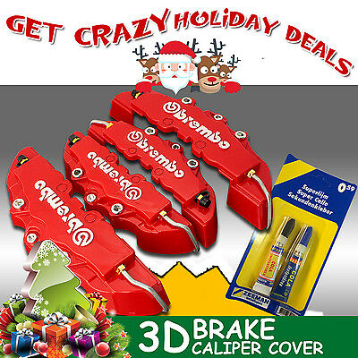 4x 3D Brembo Real Brake Caliper Cover Red w/Glue For Holden VZ VE BR UTE VU VY