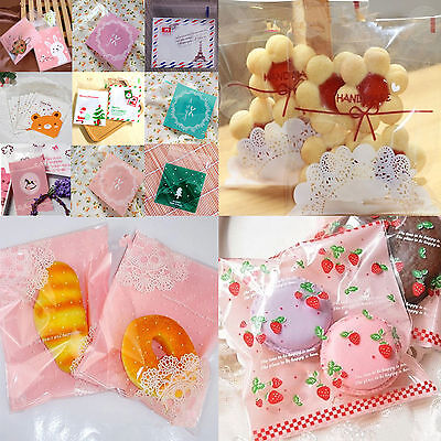 100 Pieces/Lot 10*10CM Self Adhesive Party Treat Cookie Candy Package Gift Bags