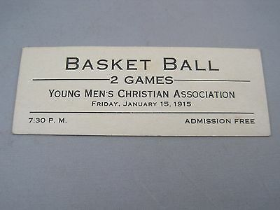 Rare Antique 1915 YMCA Basketball Basket Ball Ticket Ephemera