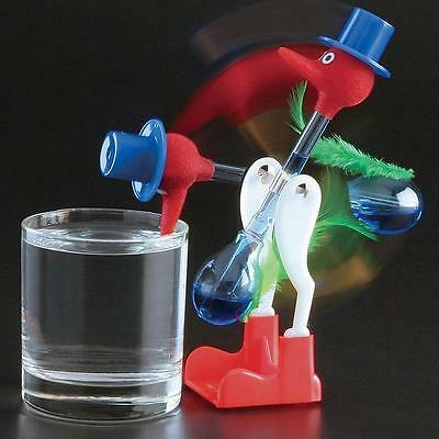 New Red Novelty Glass Happy Drinking Dipping Dippy Bird Duck Bobbing Toy NG