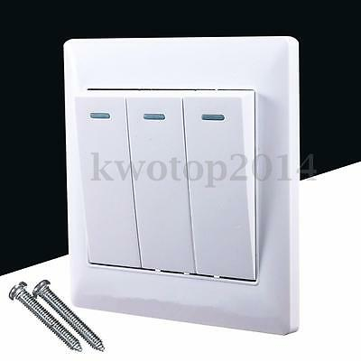 Universal 10A Power 3 Gang Wall Plate Light Lamp Bulb Switch Button Panel Home